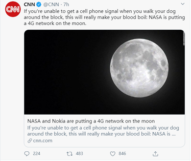 NASA plans to work with Nokia to create 4G services on the moon. - Image