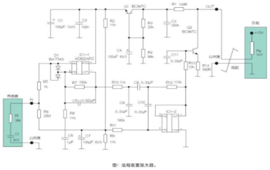 Based on the AD822ARZ single power supply operational amplifier, the remote sensor preamplifier circuit is designed.